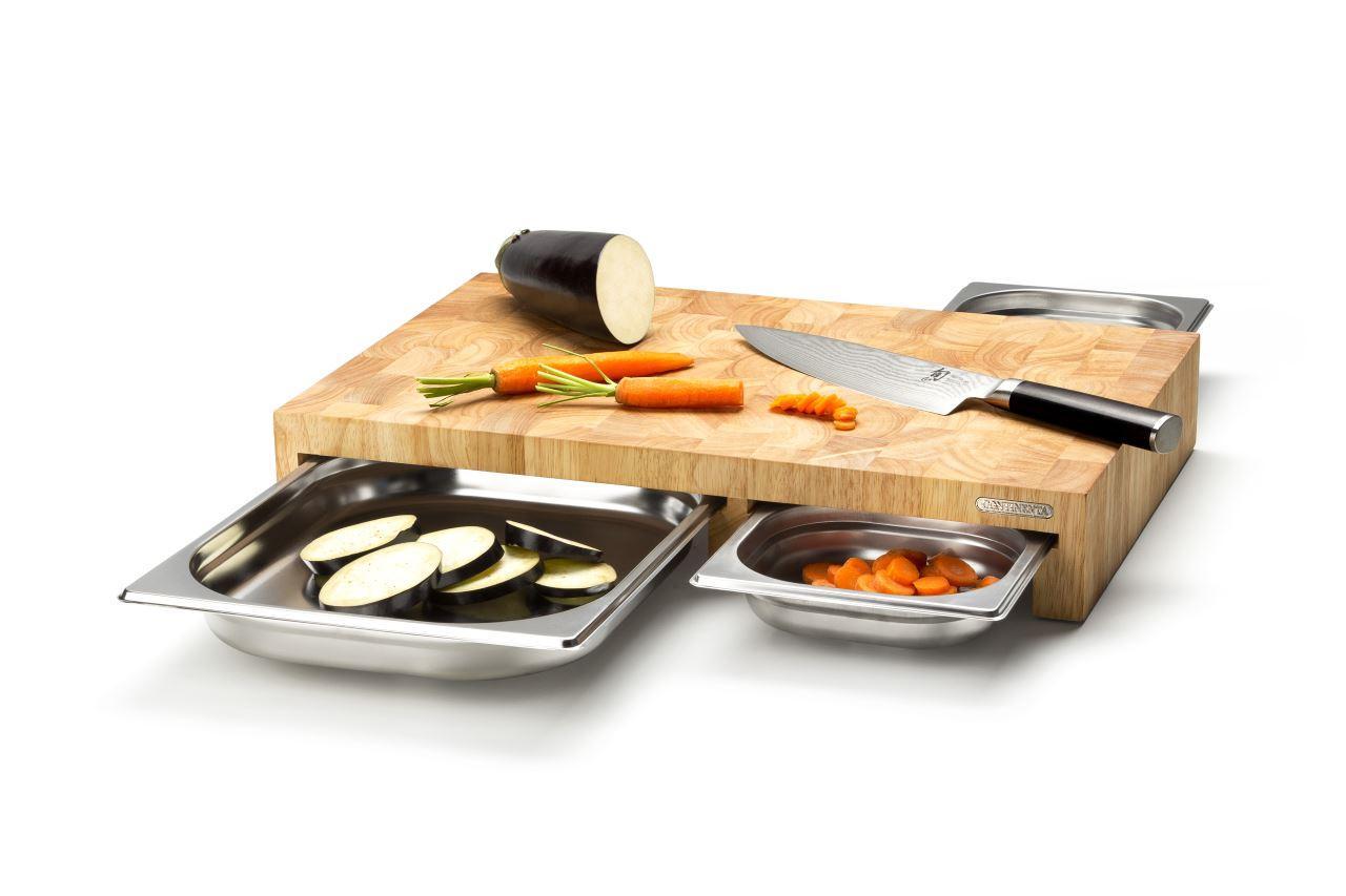 continenta schneidbrett mit 3 auffangschalen kochen essen wohnen. Black Bedroom Furniture Sets. Home Design Ideas