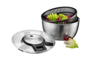 Gefu Edelstahl Salatschleuder mit Frischhaltedeckel