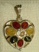 Kettenanhänger Herz aus Bernstein und Silber 90157