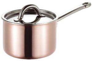 Kupfer Stieltopf mit Deckel von SUS besonders gut fuer die Zubereitung von Saucen geeignet Durchmesser 16 cm