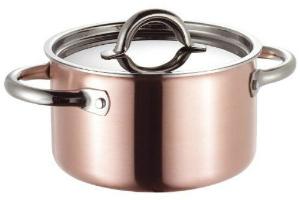 Mittelgrosser Kupfer Kochtopf von SUS fuer eine schnelle und gleichmaessige Waermeverteilung Durchmesser 20 cm