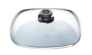 Viereckiger Glasdeckel fuer Pfannen von Gastrolux fuer vitaminschonendes und energiesparendes Braten und Kochen